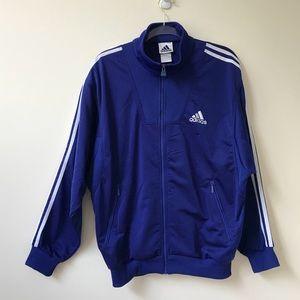 Adidas Blue and White Track Zippered Jacket